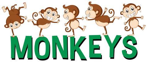 Design de fonte para macacos de palavra vetor