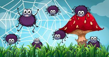 Aranhas subindo na teia de aranha vetor