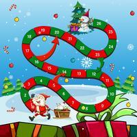 Modelo de jogo com Papai Noel e árvore vetor