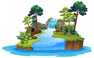 Cachoeira natureza isolada no fundo branco vetor