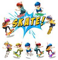 Muitas crianças brincando de skate vetor