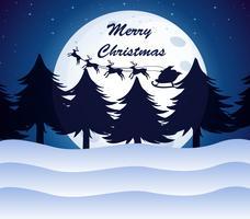 Um modelo de Natal com uma lua, pinheiros e renas em um trenó vetor