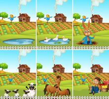 Conjunto de animais e terras agrícolas vetor