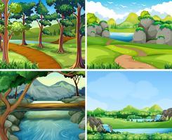 Quatro cenas com rio e árvore vetor