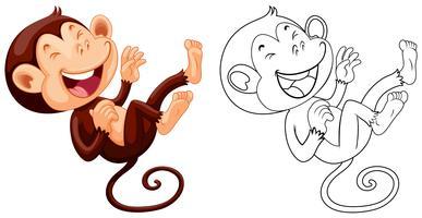 Contorno animal para o macaco rindo vetor