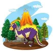 Erupção de dinossauro e vulcão vetor