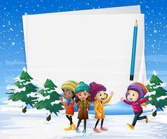 Modelo de papel com crianças no campo de neve vetor