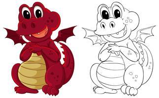 Contorno animal para pequeno dragão vetor