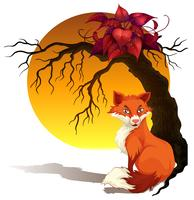 Raposa, sentando, sob, árvore vetor