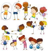 Crianças e pessoas fazendo exercícios diferentes vetor