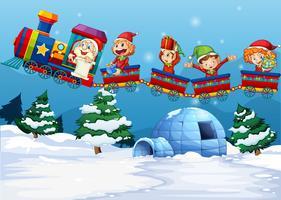 Papai Noel e elfo andando no trem vetor