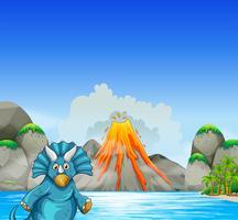 Dinossauro, vivendo, por, a, lago
