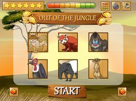 Modelo de jogo com animais selvagens no campo vetor
