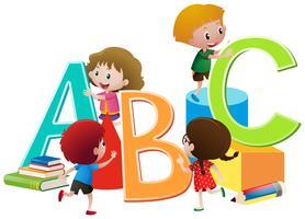 Crianças, com, inglês, alfabetos, blocos vetor