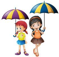 Duas meninas, segurando guarda-chuva vetor
