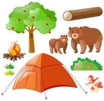 Ursos e elementos de acampamento vetor
