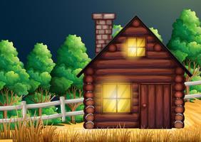 Cabana de madeira na floresta vetor