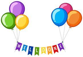 Palavra welldone em bandeiras com balões coloridos vetor