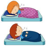 Menino menina, dormir, cama vetor