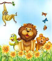 Animais e flores vetor