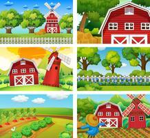 Seis cenas diferentes de fazenda vetor