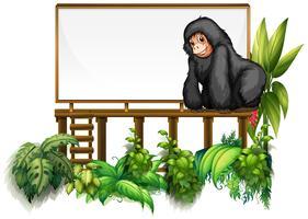 Modelo de placa com gorila no jardim vetor