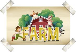 Flashcard para fazenda de palavra com agricultor e animais vetor