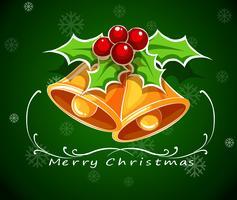 Um, verde, cartão natal, modelo, com, sinos, e, um, poinsettia, planta vetor