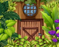 Casa de madeira na floresta vetor