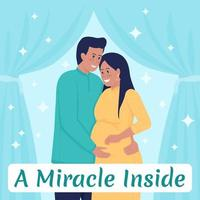 gravidez mídia social pós-maquete. casal feliz. milagre dentro da frase. modelo de design de banner da web. reforço de maternidade, layout de conteúdo com inscrição. pôster, anúncios impressos e ilustração plana vetor