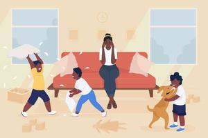 estresse de ilustração em vetor cor lisa maternidade. crianças safadas fazendo bagunça na sala de estar. mãe cansada com crianças barulhentas personagens de desenhos animados 2d com o interior da casa no fundo