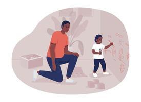 pai cuidando da ilustração isolada do vetor 2d da criança. pai e filho personagens planos no fundo dos desenhos animados. comportamento problemático. criança fazendo bagunça em casa cena colorida