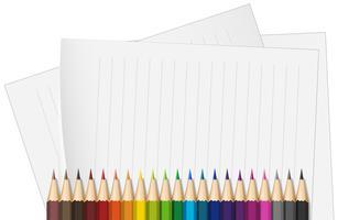 Papéis de linha e muitos lápis de cor vetor