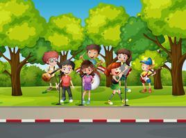 Crianças, tocando, música, rua vetor