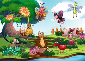 Borboletas e insetos no jardim vetor