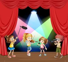 Miúdos performaning música no palco vetor