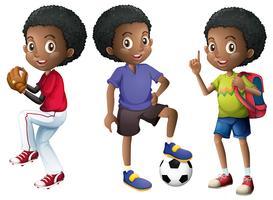 Um, jogo, de, menino africano vetor