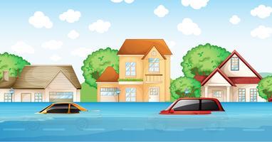 Uma cena de desastre de inundação vetor