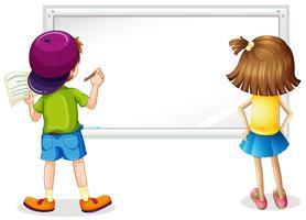 Quadro branco com menino e menina escrevendo