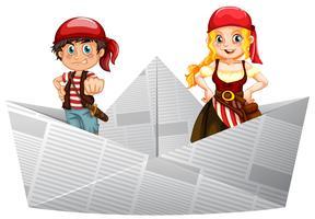 Tripulações de pirata em pé no barco de papel vetor