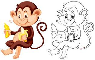 Contorno animal para macaco come banana vetor