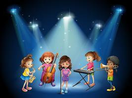 Crianças, tocando, música, em, concerto vetor