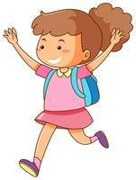 Menina com mochila azul vetor