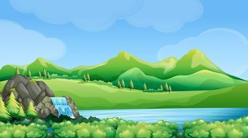 Cena da natureza com cachoeira e montanhas vetor