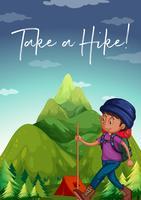 Homem, hiking, cima, a, montanha, com, frase, dar uma caminhada vetor