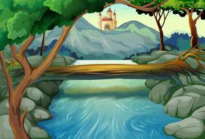 Cena, com, rio, e, torres castelo vetor