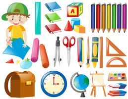 Objetos diferentes para a escola vetor
