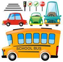 Conjunto de diferentes transportes e sinais de trânsito vetor