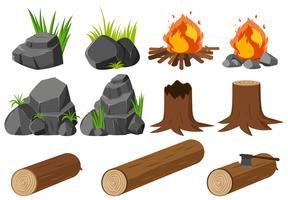 Elementos da natureza com pedras e madeiras vetor