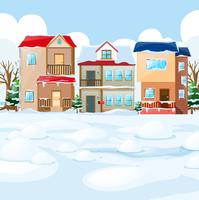 Cena de aldeia com neve nas casas vetor